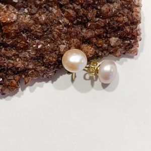Large genuine pink pearls with 14k posts